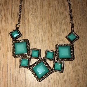 Square Turquoise Statement Bib Necklace